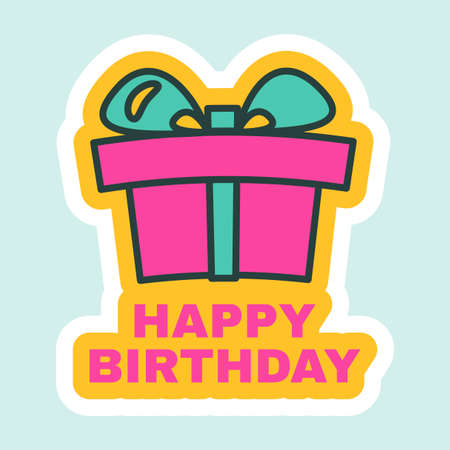 Happy Birthday Sticker with Giftbox Sign. Birthday Label with Present Box for Greeting Card, Postcard, Messaging or Surprise Party Decoration Design, Flat Vector Illustration Illusztráció