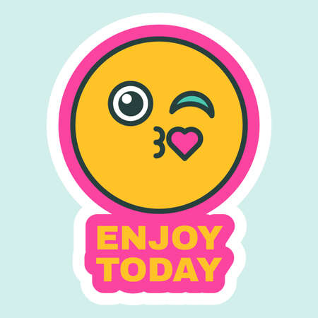 Enjoy Your Day, Creative Sticker Flat Vector Illustration. Chat Message Element Design with Smiling Face Element, Comic Greeting Card, Birthday Card or Invitation Decoration Design Illusztráció