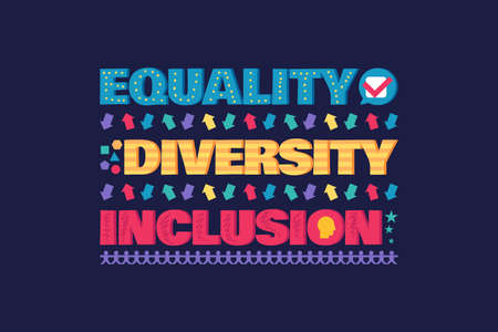 Diversity Banner or Flyer with Lettering, Equality and Inclusion Poster Design Vector Illustration. Protection Diverse Human Rights and Discrimination Concept Illusztráció