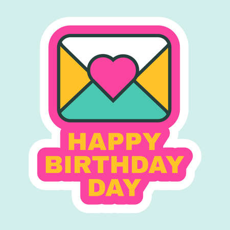 Happy Birthday Day Letter Icon Flat Retro Design Vector Illustration. Greeting Card, Message Notification, Postcard Letter Cute Cartoon Sticker for Holiday or Party Decorations