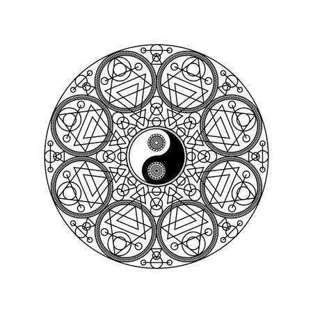 Yin Yang Symbol in Eastern Geometric Pattern Circle Isolated on White Background Vector Illustration. Traditional Mandala Sign for Yoga or Meditation Concept