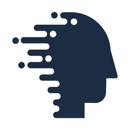 Technology Innovation  Human Head Icon Flat Isolated, Techno  Human Head Vector Illustration. Artificial Intelligence and Digital Communication Concept