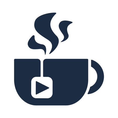 Tea Cup Steaming, Isolated Mug with Media Player Button on Tea Bag Vector Illustration. Cup With Hot Beverage On White Background, Coffee Break Morning Drink Concept Illusztráció
