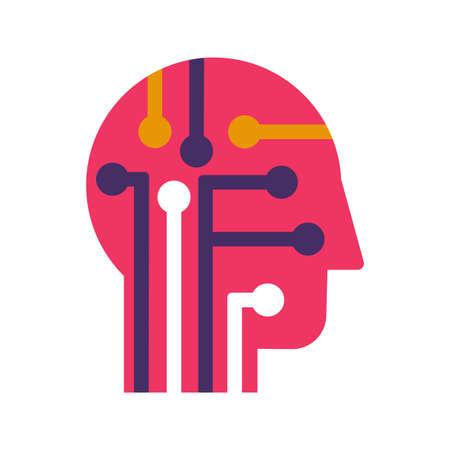 Intelligence, learning and innovation flat vector icon. Human brain power color pictogram Illusztráció
