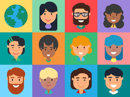 People Avatars Set, Diverse Men and Women Faces. Flat Vector Illustration of Caucasian, African American, Asian Male and Female Cartoon Business People, Students and Office Workers