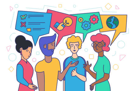 Diverse People Talking, Social Communication and Networking Concept. Flat Vector Illustration of Ethnic Male and Female with Chat Bubbles Discussing Business. International Web Social Communication
