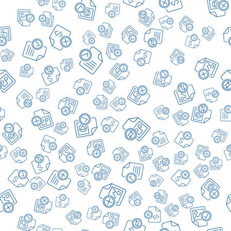 Media Files Outline Icons On White Background. Modern Web Seamless Pattern Design. Different Web Signs Pattern. Audio, Video and Document Files Symbols Isolated Illusztráció