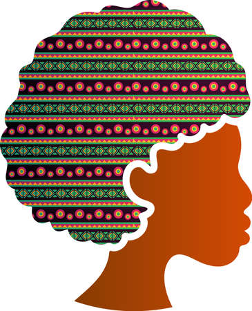 African American Face Silhouette Profile Icon Isolated. Beautiful Black Female with Traditional Ornament in Hairstyle. Diversity and Woman Rights Protection Concept, Vector Illustration