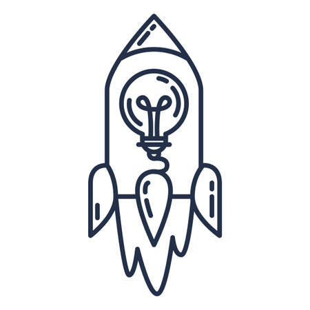Startup Idea Icon, Flying Rocket with Light Bulb Outline Vector Illustration. Creative Business Project Development, Strategy and Science Concept Illusztráció