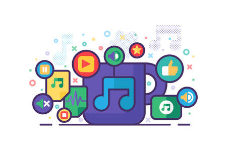 Music Banner Colorful Flat Design Vector Illustration with Mobile Musical App Signs and Buttons. Multi Media, Audio, Video Player Icons on Template White Background