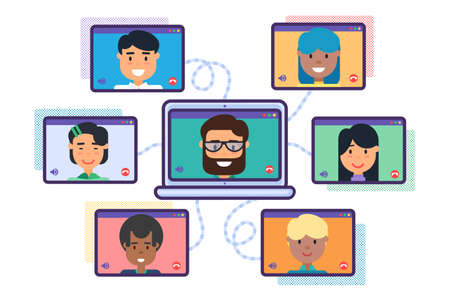 Video Conference Concept. Mix Race Team Online Meeting Making Video Call Flat Vector Illustration. Group of Cartoon Diverse Business People on Computer Screens Talking, Web Communication Concept
