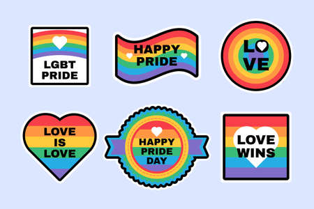 Pride LGBTQ Labels Set in Rainbow Colors: Flag, Heart, Love, Support, Tolerance Symbols for Posters and Banners Decoration Design. Gay and Lesbian Pride Month Flat Vector Illustration