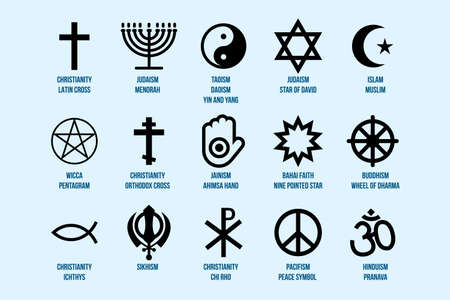 Religious Signs Set. Collection of Symbols of Various Religion and Faith Icons Isolated on Blue Background Vector Illustration. Islam, Christianity, Judaism and Others