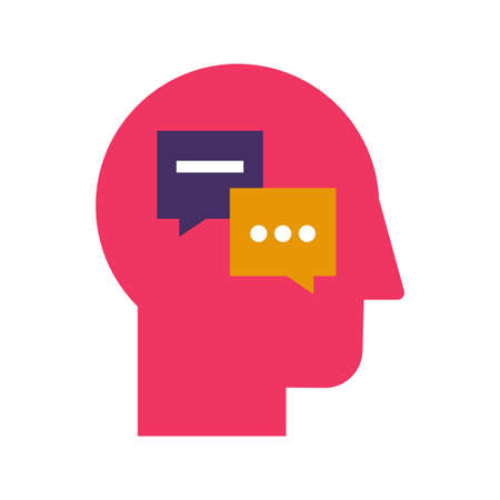 Interpersonal psychology and psychotherapy flat vector icon. Color science of behavior pictogram Illustration