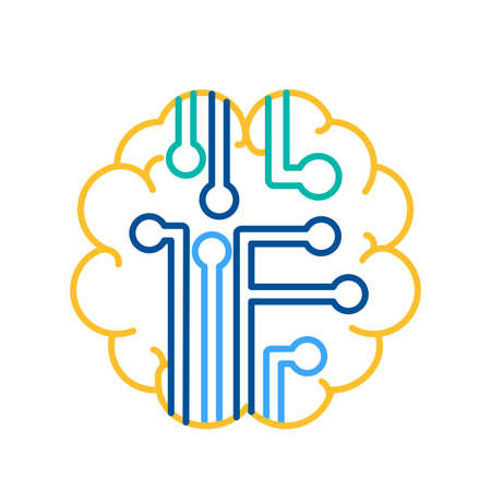 Intelligence Icon Curcuit in Human Brain Sign Thin Line Design Vector Illustration. Thinking, Development and Brain Activity Concept