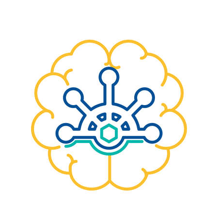 Behavior Control Icon with Nautical Steering Wheel over Human Brain Outline. Mental Health and Emotional Stability Concept Thin Line Vector Illustration