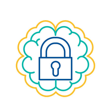 Lock Icon over Human Brain Background, Introvert Temperament Sign. Closed Padlock Sign Thin Line Vector Illustration. Data and Privacy Protection Symbol Design