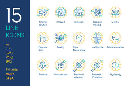 Set of Brain and Mental Activity Icons Thin Line Templates Isolated on White Background. Search, Thinking, Development and Intelligence Concept Vector Illustraion