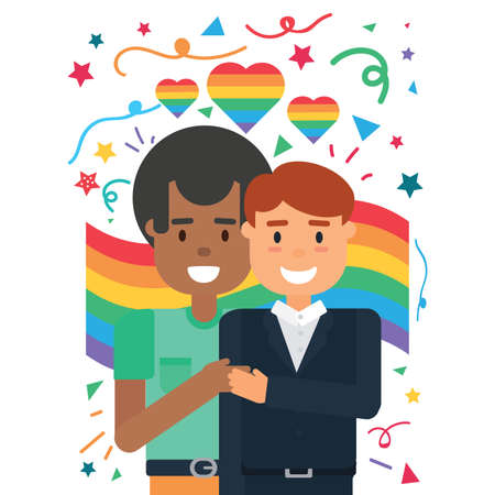 Happy male couple in love standing over lgbt rainbow background vector illustration.