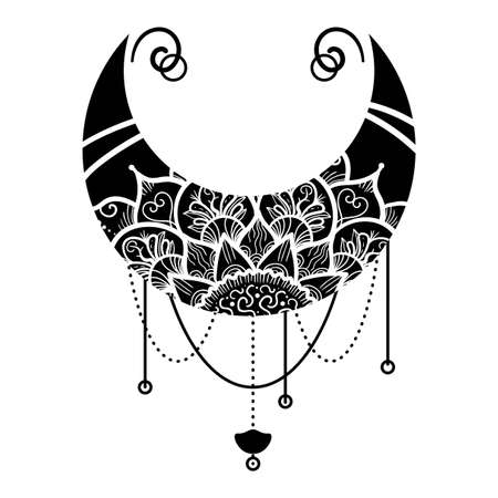 Moon with Mandala Floral Ornament Hand Drawn Isolated. Monochrome Crescent Oriental Pattern in Traditional Islam, Arabic, Indian Ethnic Decorations on White Background, Vector Illustration