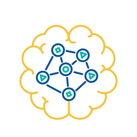 Network Curcuit On Brain Icon, Social Media Communication or Analysis Concept. Thin Line Vector Illustration of Global Networking and Technology Users. Web Net Data Connection Sign Illustration
