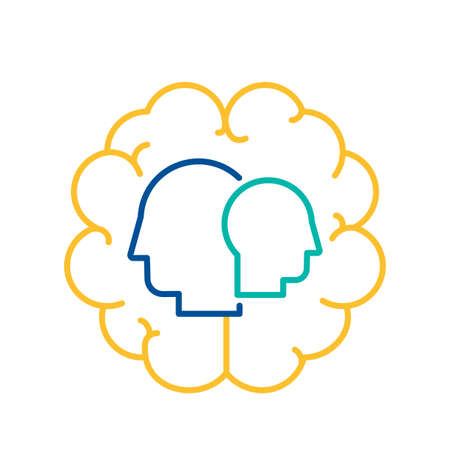 Psychology and Physiology Icon Human Brain Activity Concept. People Intelligence, Temperament and Health Sign with Head Silhouette on Brain Outline Background Vector Illustration