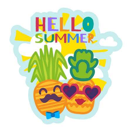 Hello Summer Sticker with Cute Cartoon Pineapples. Colorful Funny Patch Isolated. Tropical Fruits in Sunglasses Vector Design for Summer Party or Vacation