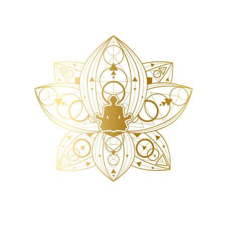 Yoga and Meditation Label Design, Female Silhouette in Golden Lotus Pose Template. Beauty Salon or Relaxation Spa Center Emblem or Branding Element Vector Illustration Illustration