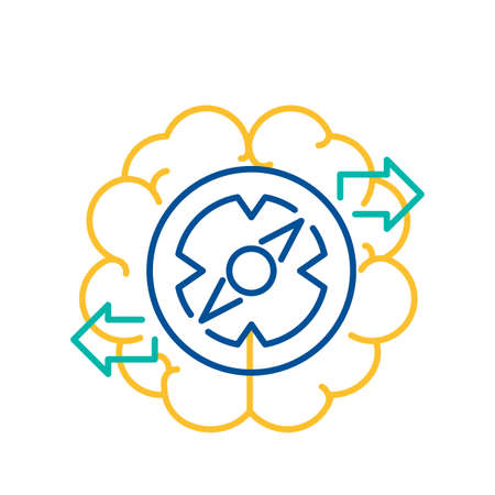 Brain and Gear  Cogwheel Icon, Finding Solution Concept Thin Line Design. Vector Illustration of Business Solutions, High Technology, Development, Invention, Innovation and Creativity Illustration