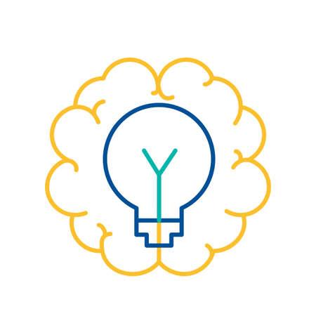 Light Bulb in Human Brain Icon Thin Line. Creative Brainstorming Activity Sign Vector Illustration. New Idea Generating, Thinking, Planning and Innovation Symbol Illustration