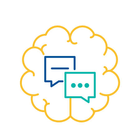 Chat Bubble Icon over Human Brain Background, Chat Bubble Icon, Social Media Communication Sign Thin Line Design. Speech Bubbles, Internet Chatting and Messaging Element