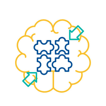 Puzzle Elements Connected over Human Brain Icon. Puzzle Elements Assembled Together. Game as Business Solution, Teamwork, Strategy, Introspection Concept. Thin Line Vector Illustration Illustration