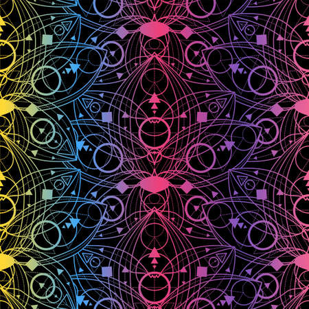 Colorful seamless pattern with lotus flowers outline on black background. Beautiful backdrop luxury geometric linear ornament. Gilding lotus flowers. Template vintage vector illustration Çizim