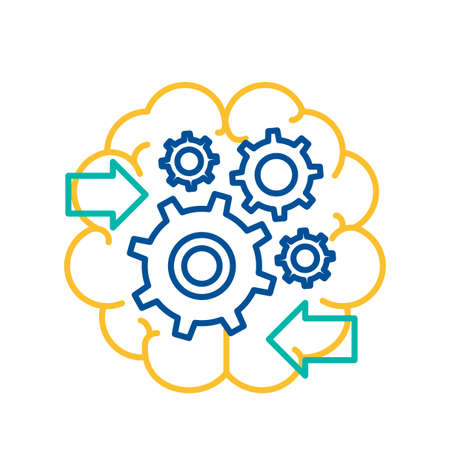 Gears Spinning in Human Brain Icon Isolated. Decision Making Concept Thin Line Vector Illustration. Brain Activity, Creativity Intelligence, Business Solutions, Invention and Innovation Idea