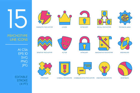 Set of Flat Icons With Different Psycological Types and Temperaments Isolated. Mental Health and Psychology Signs Collection, Human Mind Differences Concept