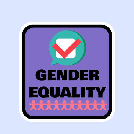 Gender equality badge flat design, stop discrimination sign. Sexual orientation and human rights protection label. Tolerance and support concept vector illustration Illustration