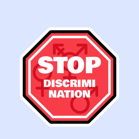 Stop discrimination and protect human rights sign. Badge flat vector illustration. Sexual harassment prevention, feminism equality and lgbt rights concept