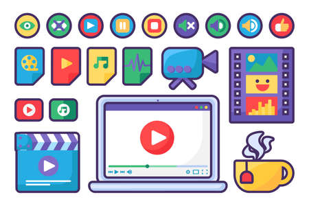 Media Player Icons and Buttons Set Flat Design Vector Illustration. Set Of Flat Signs For Multimedia, Video Audio Files for Apps and Websites Symbols
