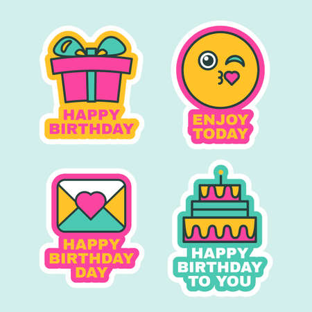 Happy Birthday Labels Comic Sticker Icons Design. Funny Decoration for Holiday Party, Greeting Card or Invitation with Present Box, Smile Face and Cake Vector Illustration Illustration