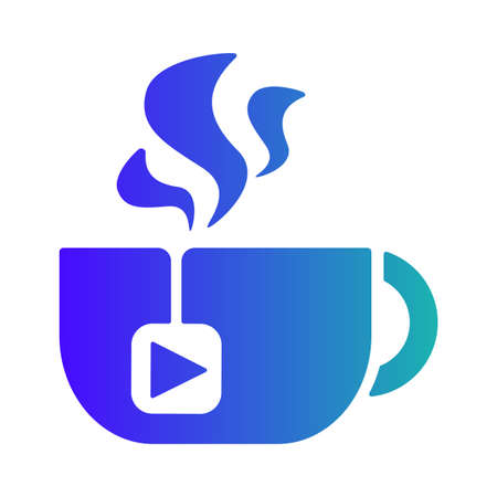 Tea Cup Steaming, Isolated Mug with Media Player Button on Tea Bag Vector Illustration. Cup With Hot Beverage On White Background, Coffee Break Morning Drink Concept Illustration
