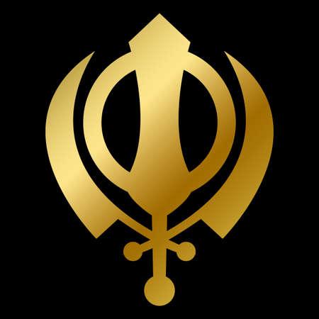 Sikhism faith symbol isolated god sign outline Stok Fotoğraf - 147670098