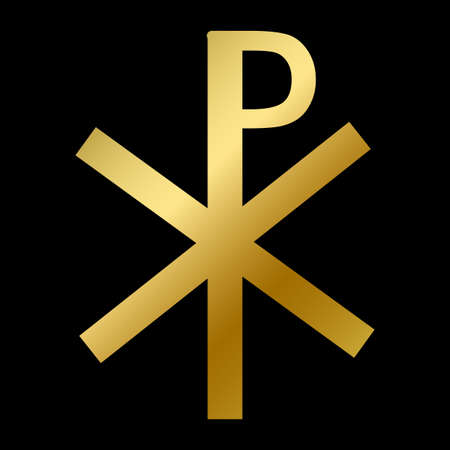 Chi rho symbol isolated christianity religion sign Vectores