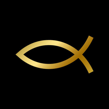 Ichthys fish symbol isolated. Christian sacred religious golden sign on white background vector design illustration. Gold greek element. Religion, faith and belief concept