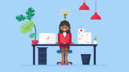 Young african american business woman having new creative idea while working at workplace flat vector illustration. Afro businesswoman entrepreneur with successful startup innovation Illustration
