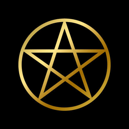 Wicca pentagram faith symbol isolated. Occultism religious golden star outline on white background vector design illustration. Esotericism, Religion and belief concept