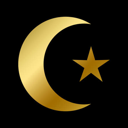 Islamic faith symbol isolated. East islam religious golden sign on white background vector design illustration. Muslim gold moon and star. Arabic religion or belief concept Illustration