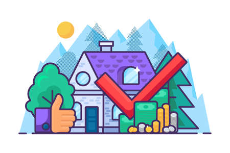 Property market transaction, real estate purchase concept. Money investment or mortgage banner with house building. Successful financial deal and agreement, online payment. Vector illustration