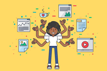 Multitask african american girl data specialist. Female seo programmer with many hands programming many tasks. Afro woman software technician, Flat vector illustration