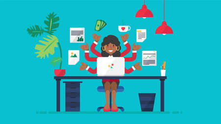 African business woman busy working flat vector illustration. Young afro american businesswoman at workplace with many tasks. Successful multitasking female entrepreneur or office manager