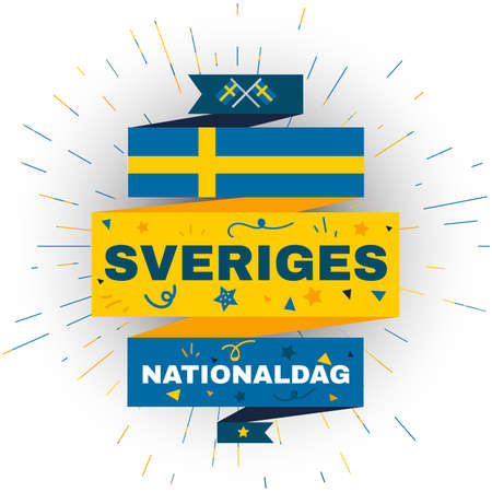 National day of Sweden. Card for independence holiday of june 6. Swedish national celebration and event element for sale, flyer template. Flat vector illustration